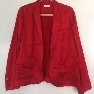 Red Silky Open Equipment Blazer
