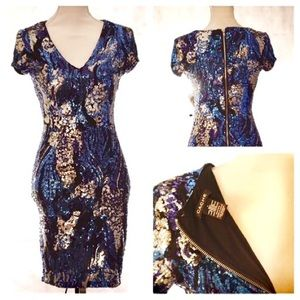 CACHE sequined short sleeve dress size small.