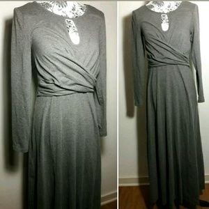 eShakti Gray Kint Maxi Dress Full Length Size XS-2