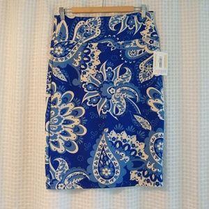 LuLaRoe Blue and Cream Paisley Cassie Skirt
