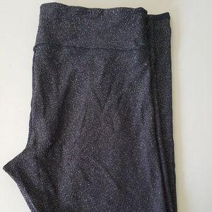 Aerie Black and metallic silver fleece leggings XL