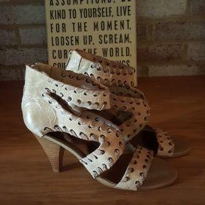 Strappy tan heels
