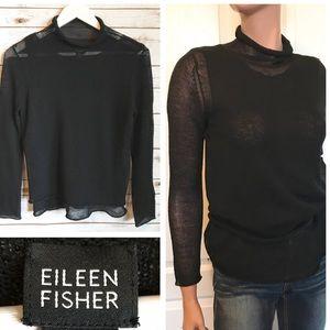 EILEEN FISHER Semi-Sheer Wool Sweater