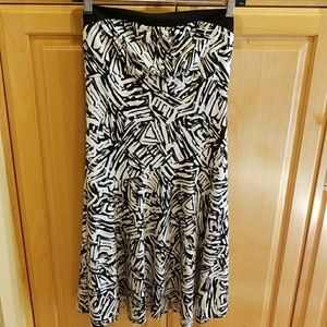 BCBG Black and white strapless dress