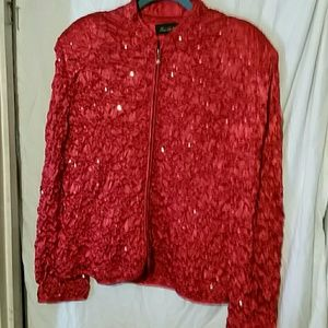 XL Ruby red sequined satin pucker jacket