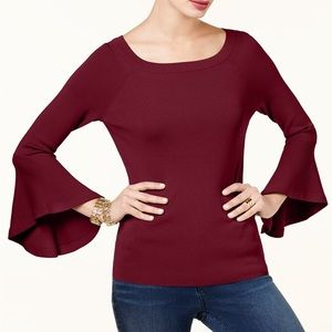 HPx2! Burgundy Maroon Ruffled Sleeves Sweater NWT