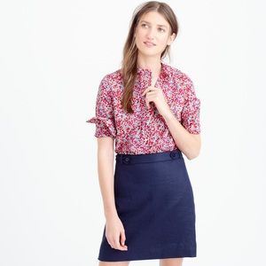 JCrew Liberty of London floral ruffle popover