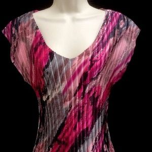 Blouse by Milano  Medium Multi Color Pink Black