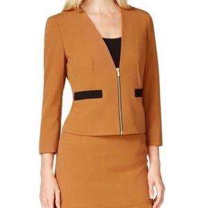 Nine West Women's Zip Front Collarless Suit Jacket