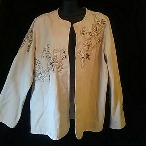 Laura Ashley Woman embellished denim jacket-sz 1X