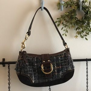 Coach Small Tweed with leather & suede trim purse