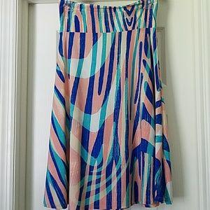 S LuLaRoe Azure Skirt Pink, Blue, Peach