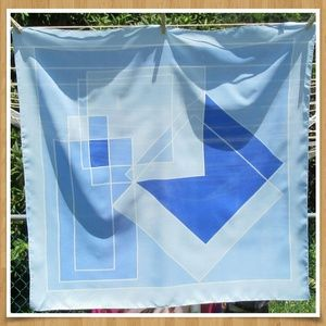 Vintage Blue Geometric Scarf