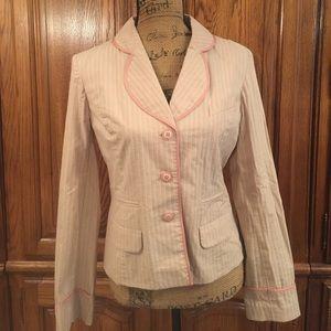 Anthropologie Elevenses Pink Pinstriped Blazer