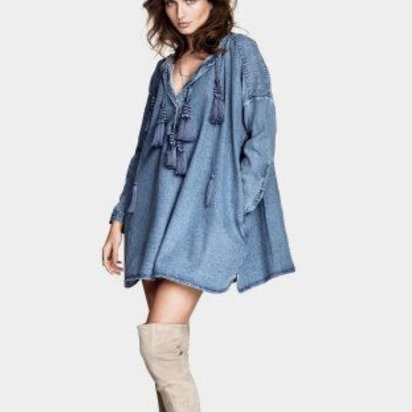588d7eaaafbcd H M Tops - RARE h m denim tassel tunic   dress