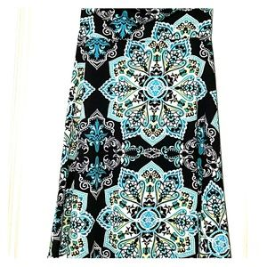 S LuLaRoe Azure Skirt Black & Turquoise Pattern