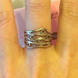 Vintage Sterling silver wave organic design ring