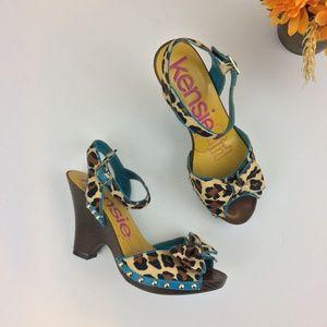 KENSIE GIRL Leopard & Teal Studded Bow Heels