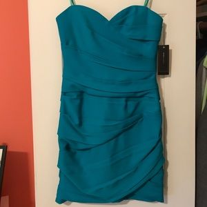 BCBG MAXAZRIA bodycon strapless teal dress