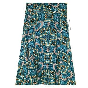 S LuLaRoe Azure Skirt Teal and Multi Color NWT