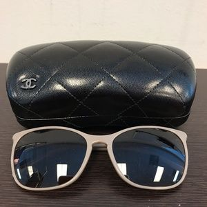 CHANEL Rectangle Sunglasses- Beige
