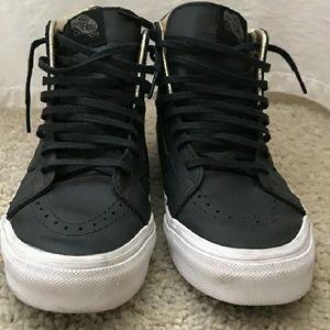 Black Leather Sk8-Hi gold zipper Vans