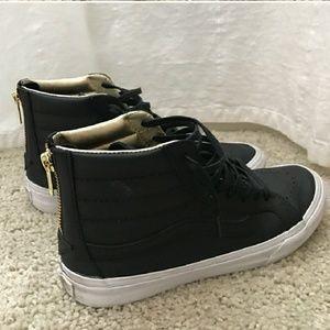 New! Black Leather Sk8-Hi gold zipper Vans