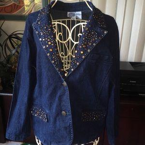 🎃Diane Gilman studded jean jacket. Size 1X