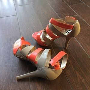Guess Peach and Gray Heels
