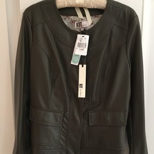 Michael Faux Leather Jacket/ olive