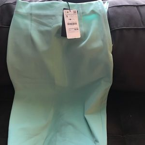 Light bright blue zara pencil skirt