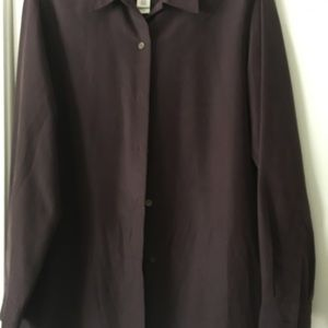 Merlot wine color long sleeve button down blouse.