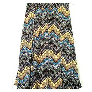 XS LuLaRoe Madison Skirt Black, Blue, Gold