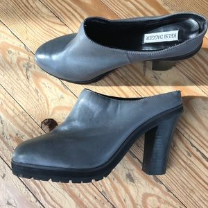 Grey platform mules. Perfect for Fall!