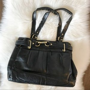 COACH black leather handbag! Gold accents