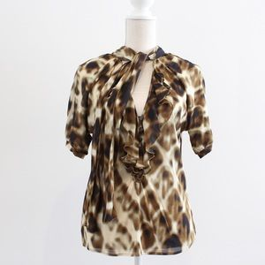 Just Cavalli Leopard Ruffle Silk Blouse