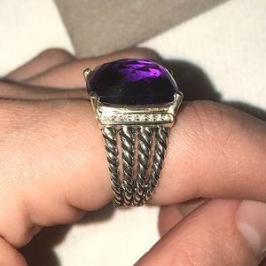 David Yurman 16x12Amethyst & Diamond Wheaton Ring6