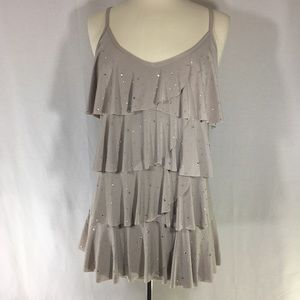 INC grey tank top with layers and rhinestones XL