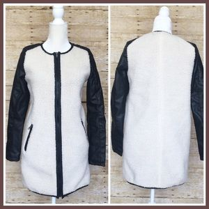 Faux Black Leather Sheepskin Jacket  Long Zip Coat