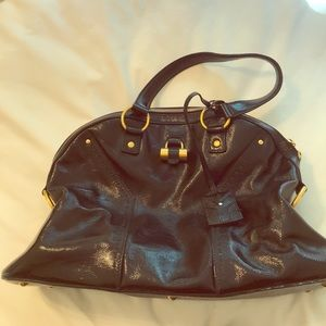 Authentic YSL black patent leather Muse tote
