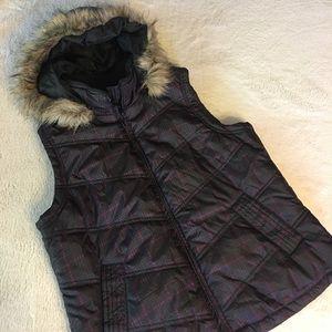Medium Plaid Cato Puff Vest With Faux Fur Hood