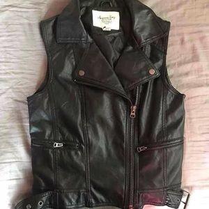 Black faux leather biker vest