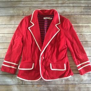 Red cropped blazer with white trim (from Modcloth)