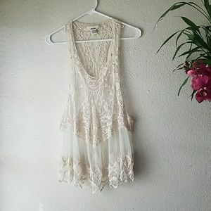 Boho lacey cover up/top