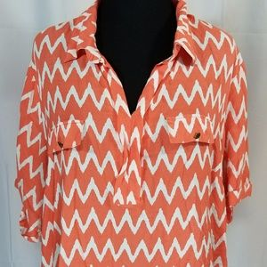 Coral & White Plus Size Chevron Pattern Blouse