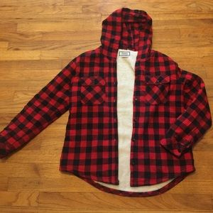Flannel jacket with fleece lining