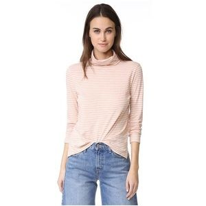 Madewell Whisper Cotton Turtleneck Pink Stripe