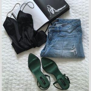 Zara silk green sandals