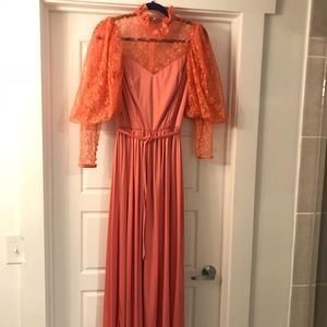 Vintage Peach Colored Dress  with Lace Sleeves
