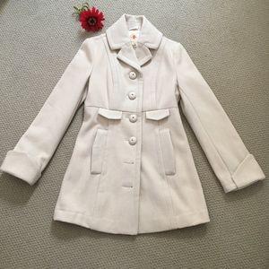 Tulle Cream Winter Coat - Medium